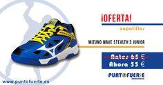 Zapatillas Mizuno Stealth 3 Junior. Una de las mejores opciones para los jóvenes jugadores: http://www.puntofuerte.es/es/zapatillas-indoor/1587-zapatillas-mizuno-wave-stealth-2-jr.html Aprovecha la ocasión y hazte con ellas por solo 55€ #oferta #outlet #zapatillas #Mizuno #Steath3 #balonmano