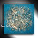 """Produktbeschreibung Künstler: Jean Sanders """"ZENIT"""" 70x70 cm Farbe: Petrol/Gold auch sehr schön in Kombination mit dem 2. Bild (auch in meinem Shop) - siehe Wohnansicht mit schwarzem..."""