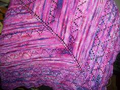 Arimono Shawl.  Pattern by Megan Goodacre of Tricksy Knitter.  Yarn from Sweatermaker Yarns, silk and merino.  Soooo soft. (Shoulder shawlette)