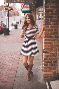 Dottie Couture Boutique - Navy and White Striped Dress, $48.00 (http://www.dottiecouture.com/navy-and-white-striped-dress/)
