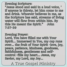 Evening Scripture and prayer...