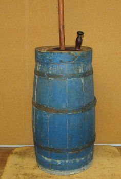 GREAT EARLY 19TH C STAVED WOODEN BUTTER CHURN IN THE BEST ORIGINAL BLUE PAINT THE BEST GRUNGY OXIDIZED BLUE PAINT ORIGINAL IRON BANDS.    Sold  Ebay   435.00