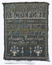 Sampler, by Anzolette Hussey, 1821, Portsmouth, NH. From the collections of the National Museum of American History/Smithsonian Institution.