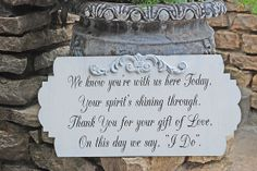 Memorial Sign GIFT OF LOVE Wedding Sign 12x24 Free set of Mr and Mrs champagne tags on Etsy, $51.95