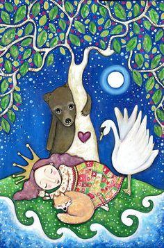 Cuento de hadas Chica animales arte zorro oso impresión Bella Durmiente niñas arte habitación vivero pared arte popular caprichoso bosque pintura arbolado