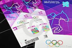 London, 14 June, 2012: Tickets for the London 2012 Olympic Games are distributed to purchasers. London 2012 Olympic kit also contains the Official spectator guide and travel cards.