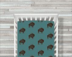 Buffalo Crib Sheet Fitted Crib Bedding Buffalo Crib Bedding Crib Sheets, Crib Bedding, Cribs, Buffalo, Frame, Handmade Gifts, Etsy, Vintage, Home Decor