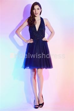 Dark Navy A-Line Hourglass Fine-Netting Short/ Mini Cocktail/Homecoming Dress for US$ 103.99. Check it out! #beauty #fashion #shortdress #DeepVneck #homecoming #cocktaidlress