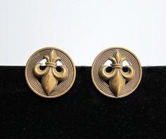 Vintage French fleur de lis brass earrings