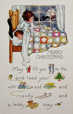 Rebus Vintage Art Deco Christmas Card by Whitney Publishing