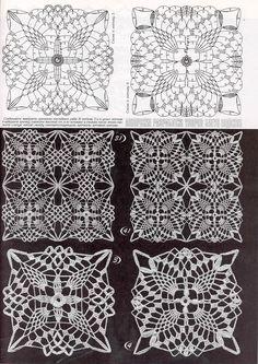 Photo from album Дуплет 172 on Crochet Tablecloth Pattern, Crochet Motif Patterns, Crochet Curtains, Crochet Blocks, Crochet Diagram, Crochet Chart, Crochet Squares, Thread Crochet, Filet Crochet
