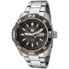 Seiko Men's SNZJ09 Seiko 5 Automatic Brown Dial Stainless Steel Watch Seiko. Save 64 Off!. $162.07. Day function in english and spanish; date function. Durable mineral hardlex crystal; brushed and polished stainless steel case and bracelet. Precise 23-jewel Japanese-automatic movement; functions without a battery; powers automatically with the movement of your arm. Water-resistant to 330 feet (100 M). Brown dial with luminous hands and hour markers; white sweeping second hand; br...
