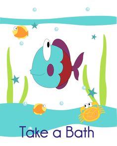 Fish, Turtle and Seahorse Children's Wall Art, Kid's Bathroom, Bathroom Decor, Children's Art Print, Nursery Decor- Set of three 8x10