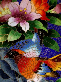 Detail of cloisonne.  Absolutely striking cloisonne artwork and colors.  Don't know if this is on a bead, pendant or pin.