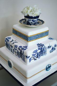Vintage China Willow Pattern Wedding Cake Painted MurrayMe