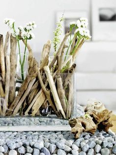 Vase en bois flotté maison du monde objet deco bois guirlande bois flotté