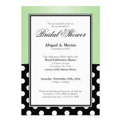 Royal Black Polka Dot Green Bridal Shower Personalized Invites