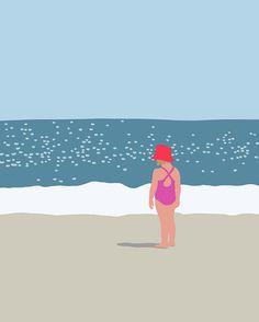 Jorey Hurley Print- Girl at the Beach. July 18, 2013.