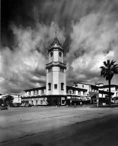 THE WESTSIDE | WESTWOOD VILLAGE:  (ca. 1948)^^ - A closer view of the Holmby Building (Hall) located at 921 Westwood Boulevard in the block between Weyburn and Le Conte Avenues, with the clock tower on the corner of Weyburn Avenue.	 Water and Power Associates.