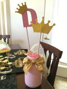 DIY Pink and Gold Princess Party centerpiece by Alejandra Gonzalez