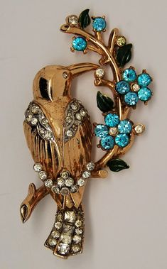 Coro Pegasus Bird on Flowered Branch Figural A Katz - Rare Jewelry Armoire, Antique Jewelry, Vintage Jewelry, Handmade Jewelry, 1940s Jewelry, Western Jewelry, Sterling Bird, Sterling Silver Jewelry, Silver Earrings