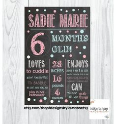 6 Months Old Chalkboard Poster/ Milestone/ Birthday/ Baby Photo Prop/Boy or… Six Month, 6 Month Olds, Baby Month By Month, Half Birthday Baby, Monthly Baby Photos, Chalkboard Poster, Baby Boy Pictures, Baby Boy Photography, Baby Memories