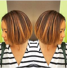 #spring #copper #highlights #hair #balayage #highlights #bob #ombre #davines #color