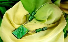 Green Mokume Gane pendant polymer clay necklace - unique, one of a kind design