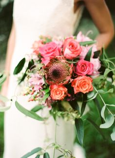 #protea, #rose  Photography: Cinzia Bruschini - cinziabruschini.it  Read More: http://www.stylemepretty.com/little-black-book-blog/2014/05/27/bohemian-wedding-inspiration-in-tuscany/