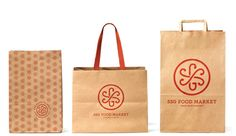 Some bags emblazoned with SSG Food Market's cool new logotype and branding. Designed by NYC-based Mucca.