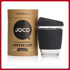 JOCO Glass Reusable 12oz Coffee Cup (Black) - Fun stuff and gift ideas (*Amazon Partner-Link)