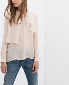 ZARA - COLLECTION AW14 - SILK BLOUSE WITH LAYERED FRONT