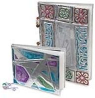 Metal Journals. Repousse.  Wax pastels adhere to metal tooling foil. This lesson includes how to bind the books. Love!