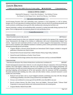 find this pin and more on resume sample template and format - Chef Resume Example