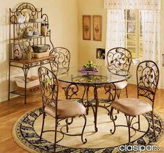 Resultado de imagen Iron Furniture, Furniture Decor, Furniture Design, Wrought Iron Bar Stools, Counter Height Pub Table, Wrought Iron Fences, Iron Decor, Dinning Table, Dining Rooms