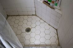 At the beginning of this year we showed you how we made minimal progress on our disgusting grout in our master . We started with this: . Sanded Grout, Tile Grout, Grout Cleaner, Seesaw, Cleaning Service, Master Bathroom, Tile Floor, Bathroom Ideas, Minimal