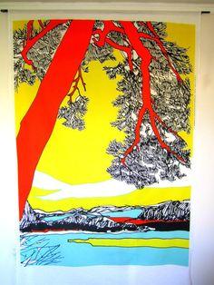 "Marimekko Ho-Hoi Fabric Repeat, 90"" x 56"", Great for a wall hanging, orig. $90"