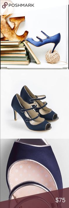 Boden Cordelia Shoes-Navy Blue Satin Perfect for holiday parties. Boden navy blue Cordelia heels. Never worn, no box but comes with shoe bag and plastic protectors still on the soles. Size 39 (9). 3.5 inch heels. Real leather. The two straps snap on the sides. Super sexy peep toe and Mary Jane-like straps remind me of Manolos. Silver edging. Wear with jeans to cocktail dresses. These are showstoppers! Boden Shoes Heels