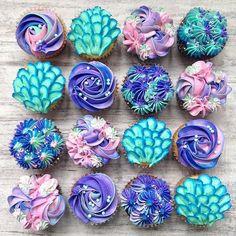 Mermaid cupcakes from milk and water baking co. Disney Desserts, Mermaid Birthday Cakes, Girl Birthday Cupcakes, Cupcakes Decorados, Mermaid Baby Showers, Little Mermaid Parties, Partys, 1st Birthday Parties, Birthday Ideas