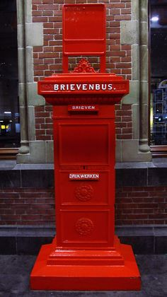 Old Dutch post box powder coated in red Antique Mailbox, Vintage Mailbox, I See Red, You've Got Mail, Going Postal, Post Box, Her World, Delft, Shades Of Red