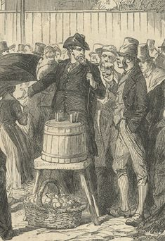 This very interesting image from the Illustrated London News of September 17, 1864 depicts the recruiting of newly arrived immigrants outside of Castle Gardens. Castle Gardens was the immigration processing center before Ellis Island. The major focus of this recruitment are the Irish and Germans. Notice the sign is in both English and German. Union soldiers can be seen mingling with the crowd.