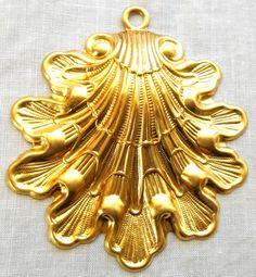 One Large, dapt art nouveau sea shell brass stamping, pendant, charm, 70mm x…