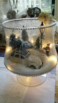 20 Magical Christmas Centerpieces That Will Make You Feel The Joy Of The Holidays - Weihnachten - Winter Filled Glass Christmas Centerpiece - Christmas Door Wreaths, Christmas Lanterns, Christmas Decorations For The Home, Christmas Jars, Magical Christmas, Christmas Scenes, Christmas Centerpieces, Xmas Decorations, Beautiful Christmas