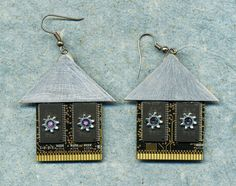Cyber Chic Earrings with mauve windows, made from computer elements, computer chip earrings, for pierced ears, house shaped earrings