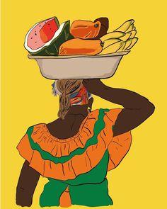 Columbian Girls, Colombian Art, Hispanic Art, Woman Illustration, Arte Popular, Black Women Art, Packaging Design Inspiration, Native American Art, Female Art