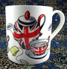 This is a new bone china mug made with a fun design of a tea party in an animated, fun style. The tea set is decorated with Union Jacks, or the English flag. I love the fun cartoon Union Jack teaset!