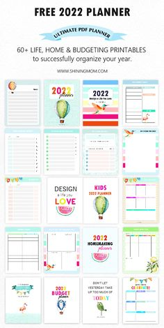 You'll love this free printable 2022 planner in PDF! Download the 60 free printables included designed to help you organize your home, finances, and life! #freeplanner #freeprintables #planner2022 #2022 Free Planner Pages, Monthly Planner Printable, Printable Calendar Template, Planner Template, Free Printables, Budget Printable Free, Free Budget Planner, To Do Planner, Kids Planner