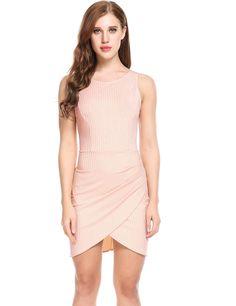 Pink Cross Asymmetrical Hem Backless Elastic Bodycon Going Out Dress