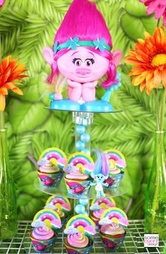 Trolls Party Cupcakes featured on Pretty My Party