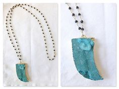 Blue Druzy Horn Necklace on Beaded Wire Rosary by HalleGirlDesign.com